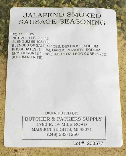 Jalapeno Smoked Sausage Seasoning