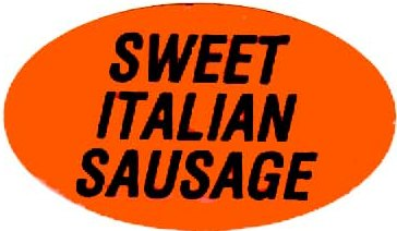 Orange Sweet Italian Sausage Labels