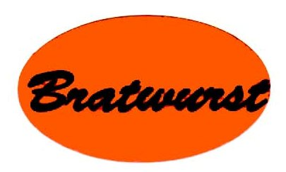Orange Bratwurst Label