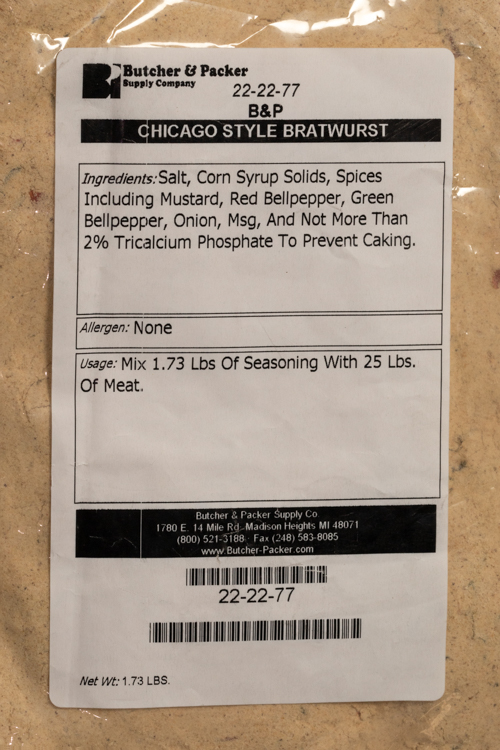 Chicago Style Bratwurst Seasoning