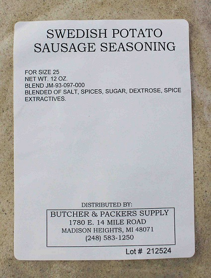 Swedish Potato (Potati Korv) Sausage Seasoning