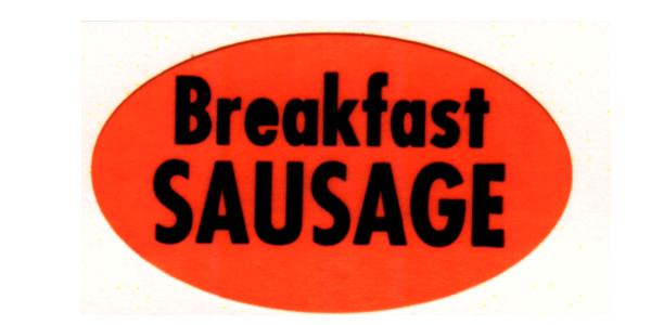 Orange Breakfast Sausage Labels